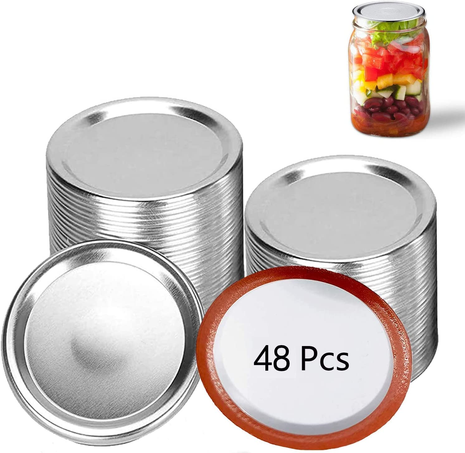 48 Pcs Regular Mouth Canning Lids Lids for Mason Jar Canning Lids