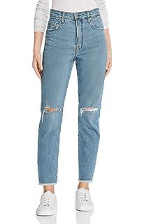 cf48ab779d MONYRAY Jean Femme Droit Taille Haute Troué Pantalon en Denim Boyfriend  Style Dechiré Large