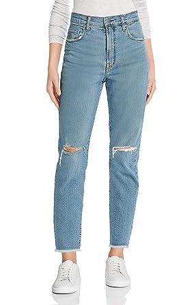 92cb455500 MONYRAY Jean Femme Droit Taille Haute Troué Pantalon en Denim Boyfriend  Style Dechiré Large Bleu délavé