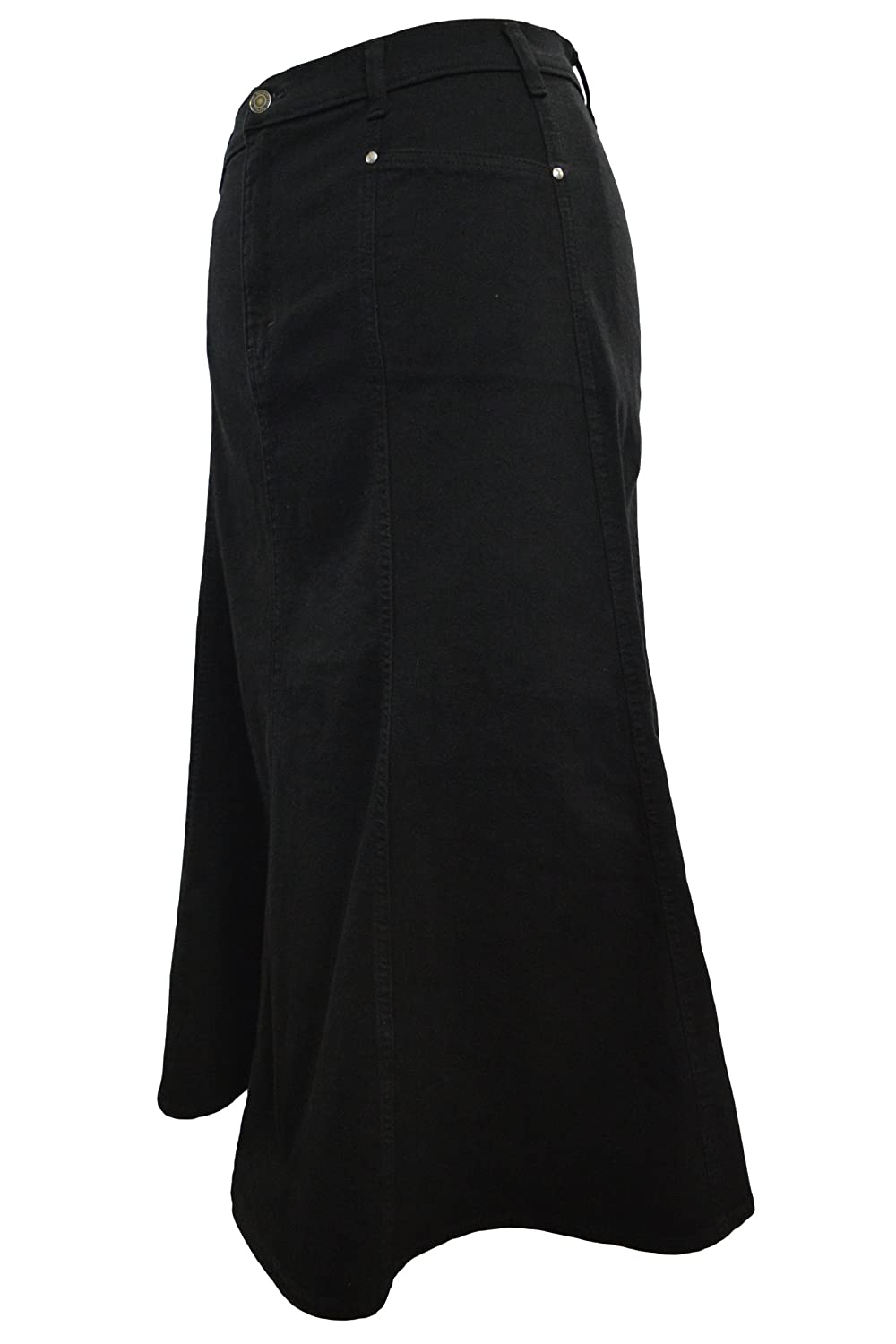 Ladies Long Flared Black Stretch Denim Skirt - Sizes 10 to 22, in 30 & 35 Lengths