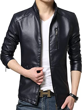 Tanming Mens Casual Slim Stand Collar Fleece Business Jackets