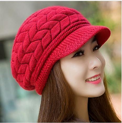 Amazon.com   Best seller Winter Women Hat Warm Knitted Crochet Slouch Baggy  Beret Beanie Hat Cap for women bonnet femme Red   Everything Else 45196af26522