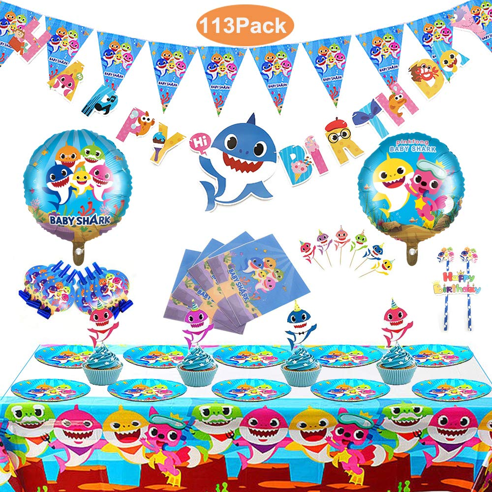 Set of 115 Pcs Shark Party Supplies Set,Shark Baby Birthday Decoration, Shark Party Decoration, Children Carnival Party Supplies Decoration