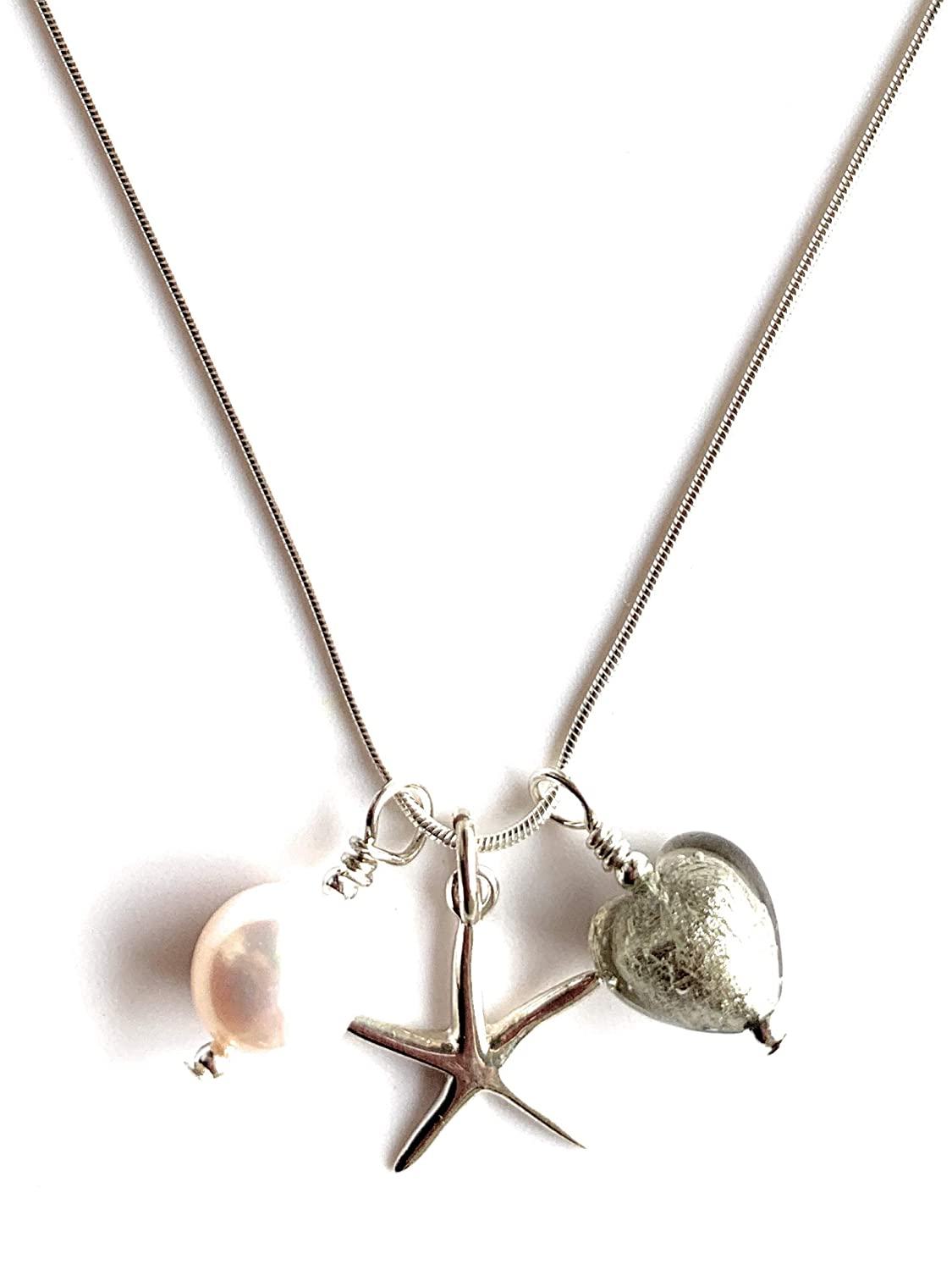 white pearl and chain jade, teal Murano glass heart Diana Ingram three charm necklace in 22 Carat gold vermeil with sea green starfish