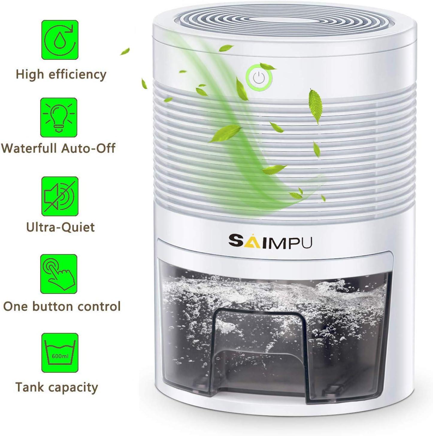 Mini Dehumidifier Ultra-Quiet Portable Electric Small Dehumidifier, 2200 Cubic Feet 220 sq ft for Bedroom, Bathroom, RV, Closet