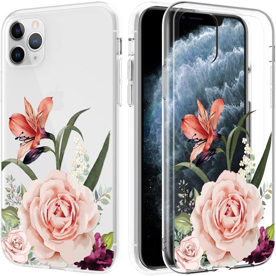 Caka Clear Case for iPhone 11 Pro Max Flower Clear Case Camellia Floral Slim Flexible Premium Clarity Soft TPU Protective Flower Cover Phone Case for iPhone 11 Pro Max (6.5 inch)(Camellia)