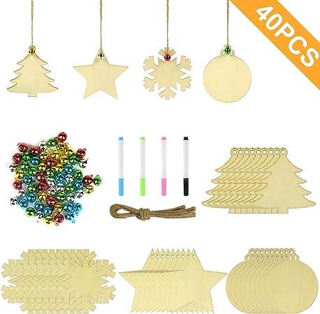 60 campane di tintinnio 8 pennarelli decorazioni per alberi di Natale fai-da-te per la casa Decorazioni per natale appese Ornamenti per bambini Joyjoz Ornamenti in legno di Natale 50 pezzi