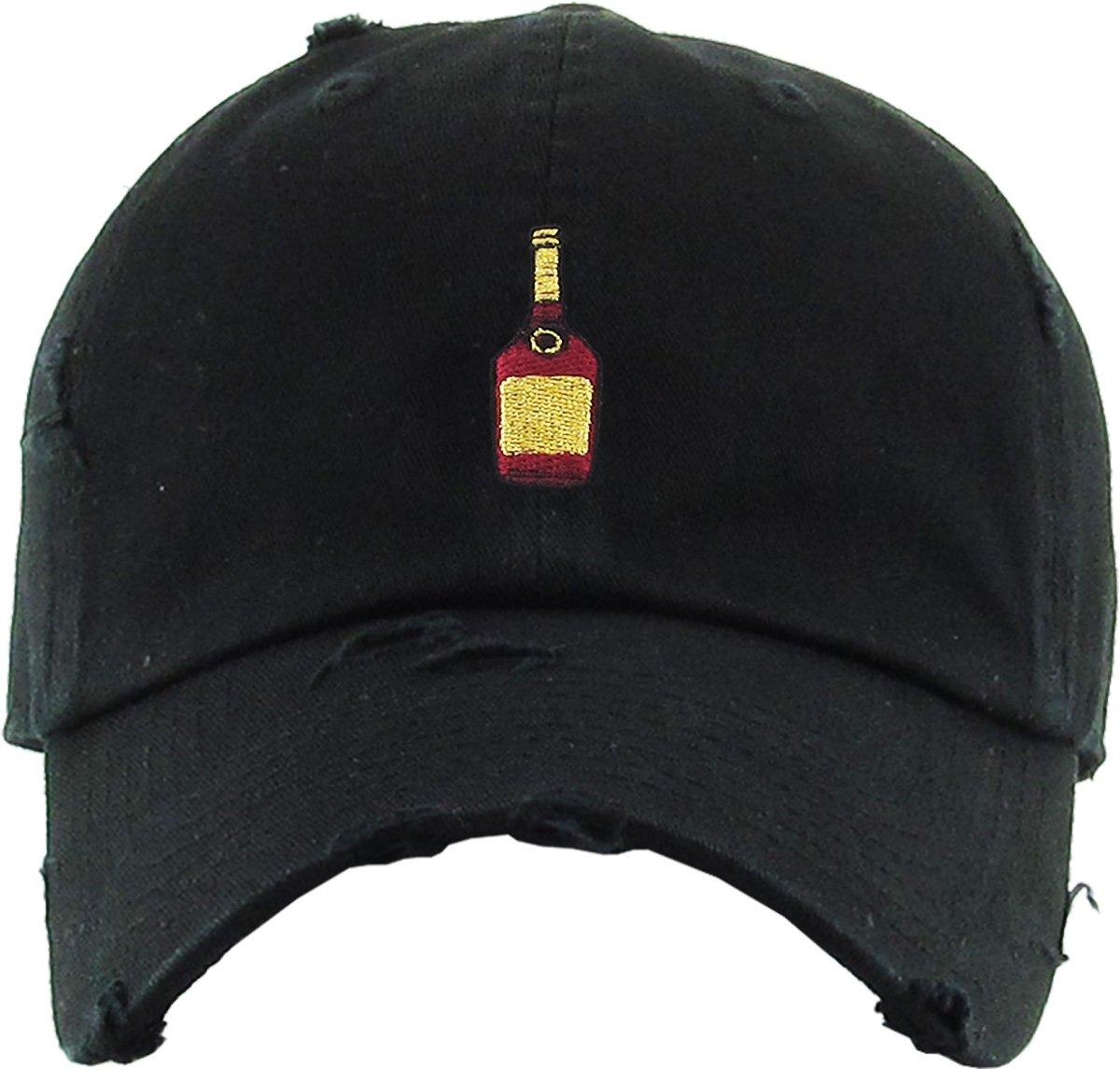 259d1947ebb Amazon.com  KBSV-047 BLK Henny Bottle Vintage Distressed Dad Hat Baseball  Cap Polo Style Adjustable  Sports   Outdoors