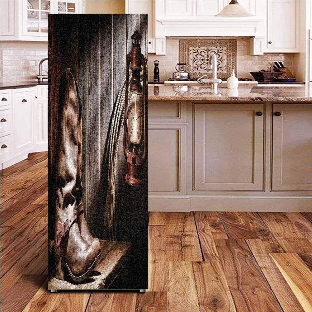 Angel-LJH Western ONE Piece Door Sticker,Dallas Cowboys and Lantern on a Bench in Vintage Ranch Nostalgic Folkloric Photograph Wall Decal Hallway Mural for Door/Wall/Fridge,24x59