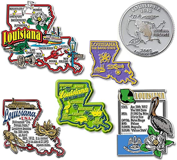 LOUISIANA BAYOU PELICAN US STATE FLEXIBLE MAGNET 2 inches