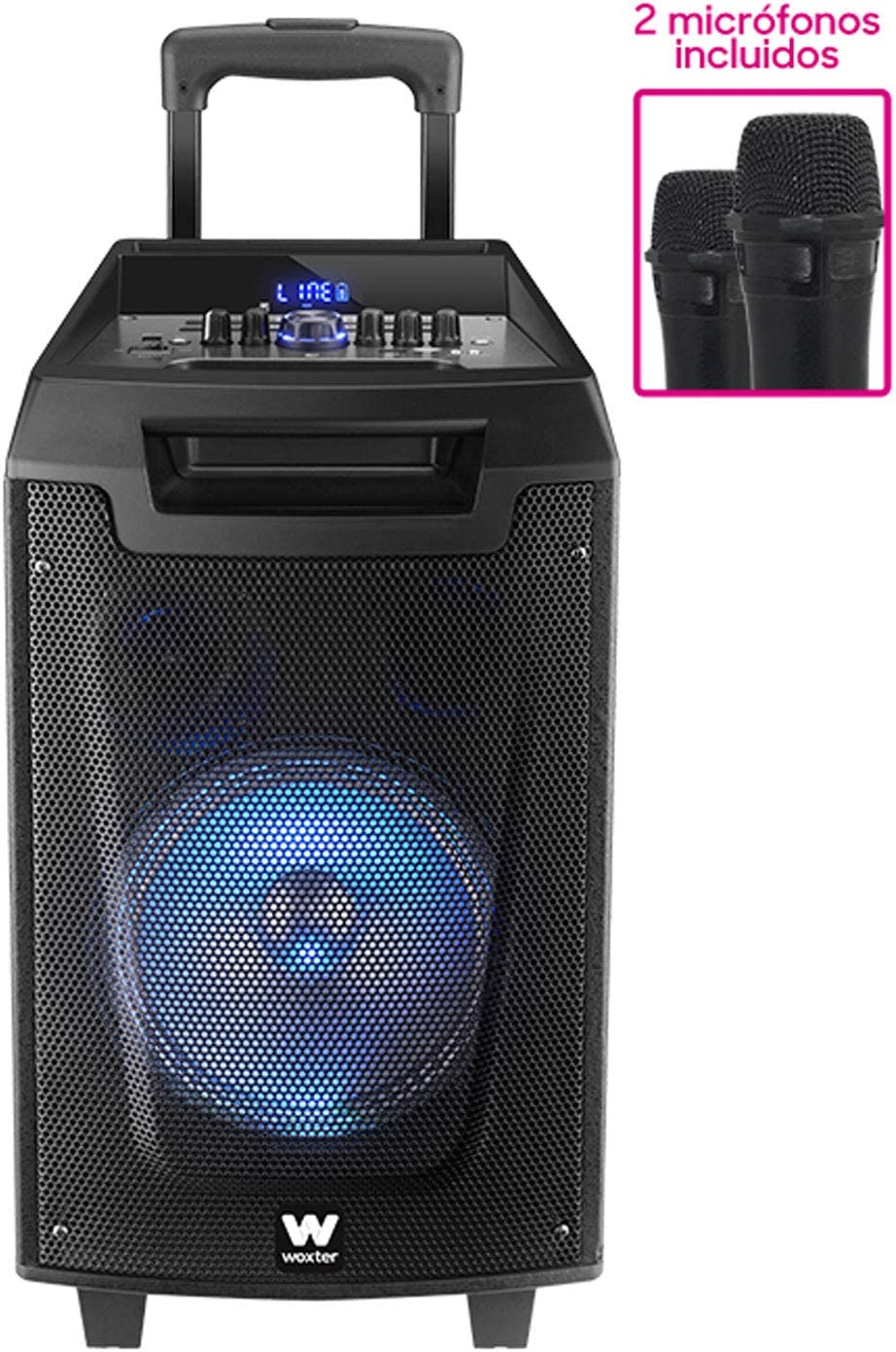 Woxter Rock'n'Roller - Altavoz trolley con función karaoke, Potencia de 80W, Display Led, Bluetooth, Lector SD/USB, AUX, Prioridad Mic, Mando a distancia, Batería de alta capacidad y 2 micrófonos inal