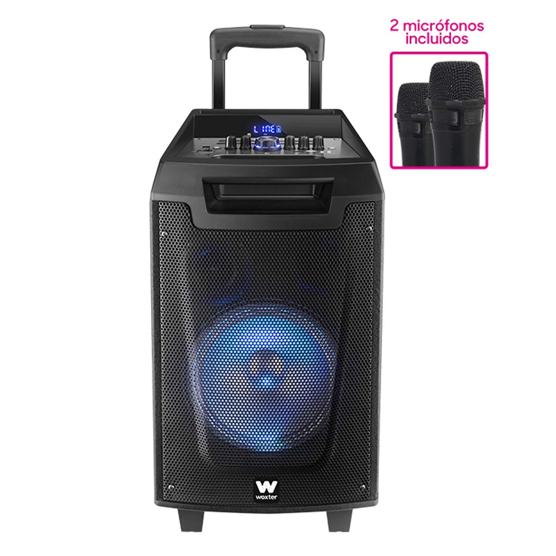 Woxter Rock'n'Roller - Altavoz trolley con función karaoke (80 W, display led, Bluetooth, lector SD/USB, AUX, prioridad mic, mando a distancia, batería de alta capacidad, X2 micrófonos inalámbricos)