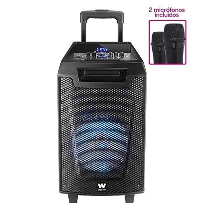 Woxter RocknRoller - Altavoz Trolley con Función Karaoke, 80W, Display Led, BLUETOOTH, Lector SD/USB, AUX, Prioridad Mic, Mando a Distancia, Batería ...