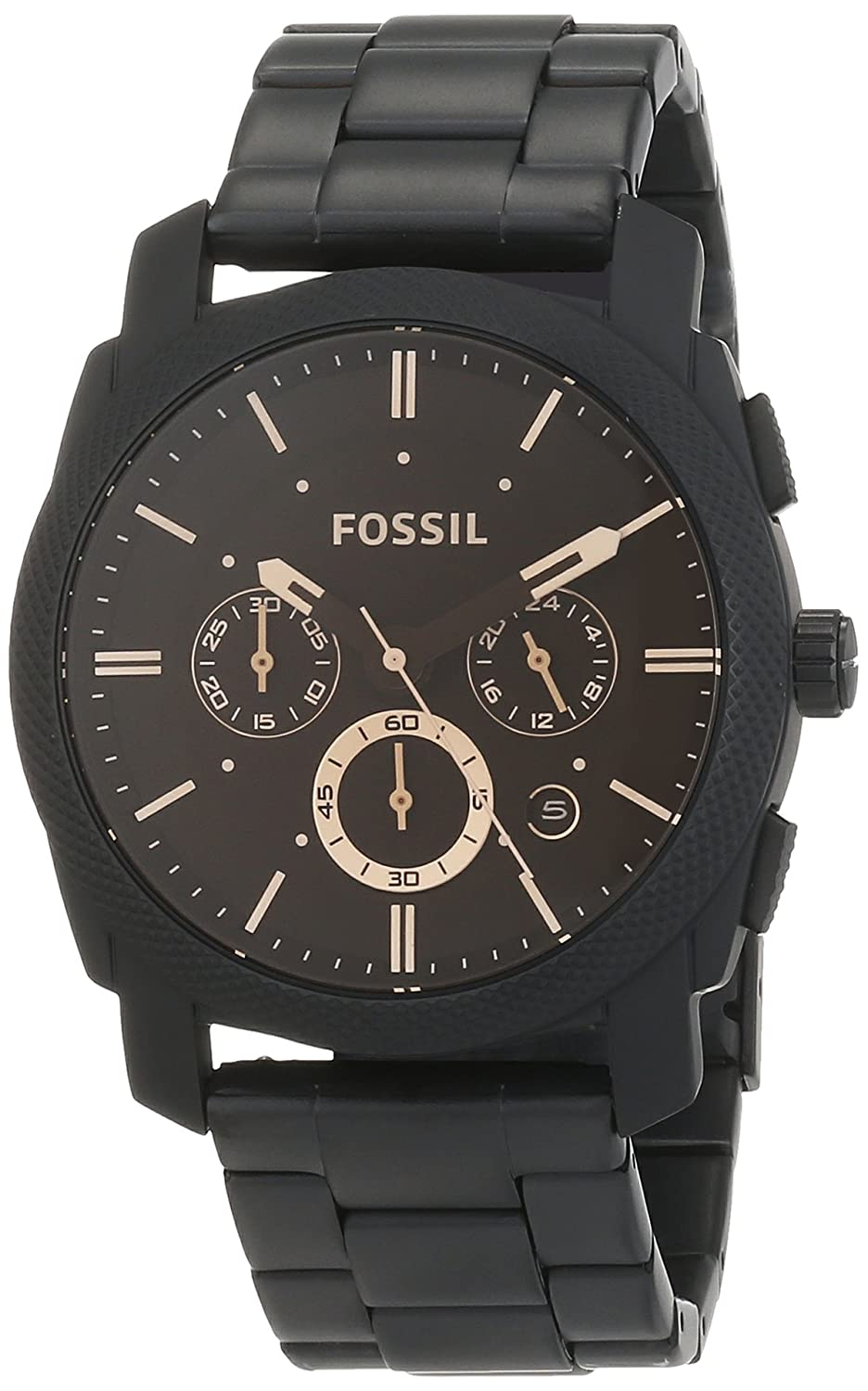 bb931225ef2 FOSSIL Machine Mid-Size Chronograph Black Stainless Steel Watch   Water  Resistant Analogue Men s Watch with Quartz movements - Stopwatch and Timer  ...