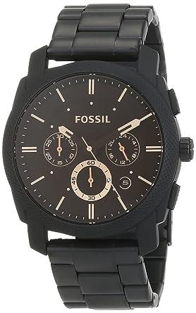 27b864f58aefa FOSSIL Machine - Montre chronographe homme noire mat en acier inoxydable,  avec minuteur - Boîte