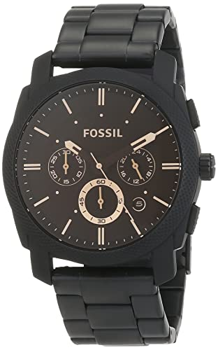 Fossil Machine Mid Size Chronograph Black Stainless Steel Watch Water Resistant Analogue Men S Watch With Quartz Movements Stopwatch And Timer