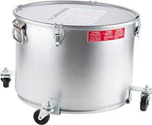 Miroil 60LC Grease Bucket and Oil Filter Pot, with Caster Base for Easy Portability, Latch Locking Lid with Seal, 55 lb or 7 Gal Capacity, Low Profile To Fit Under Drain Valves, Filtering of Hot Oil