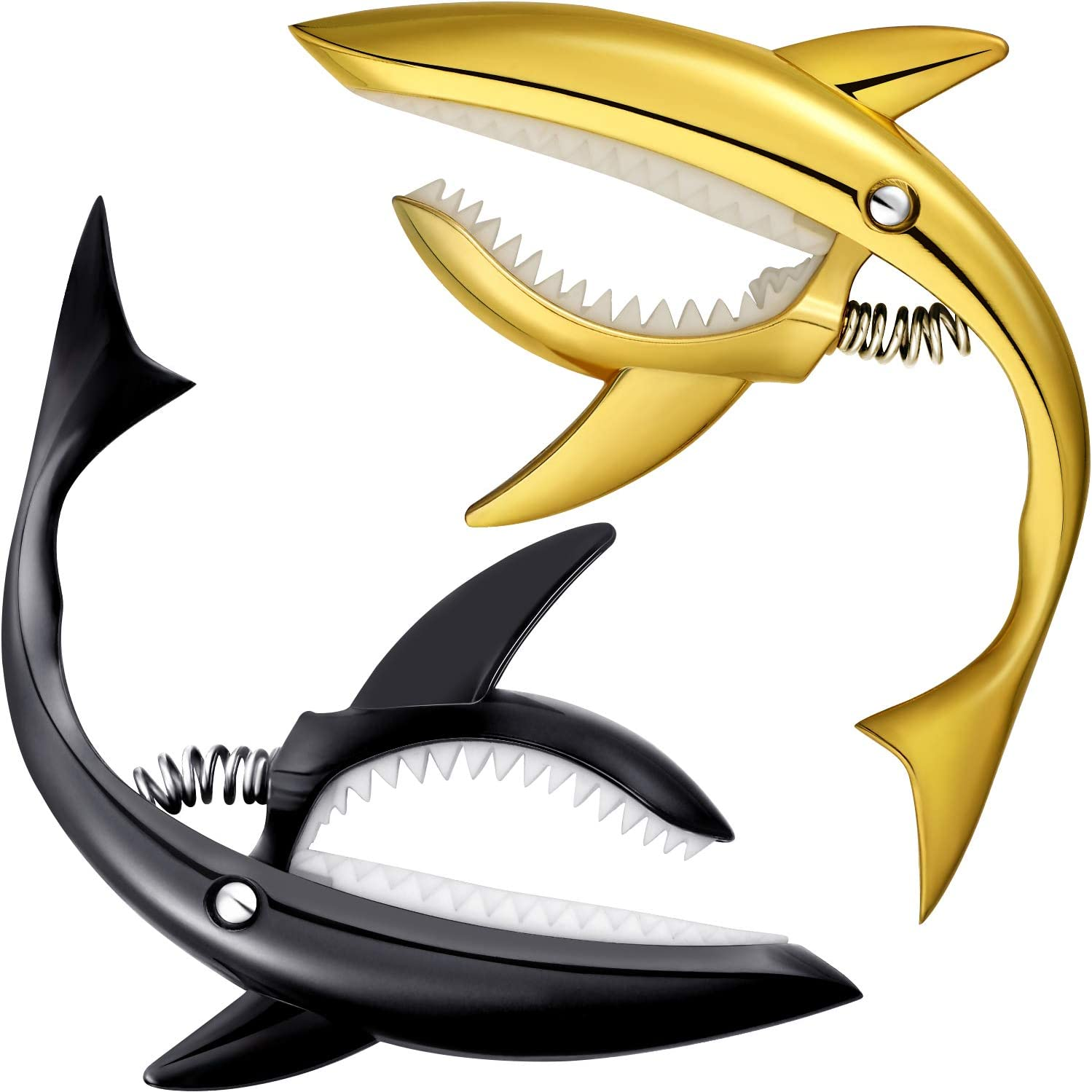 2 Pieces Zinc Alloy Guitar Capos Black and Gold Shark Capo for Acoustic and Electric Guitar Bass and 6 Pieces Guitar Picks