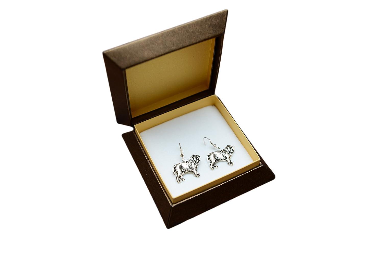 Mastino Napolitano, Neapolitan Mastiff, silver-plated earrings with an image of a dog, ArtDog