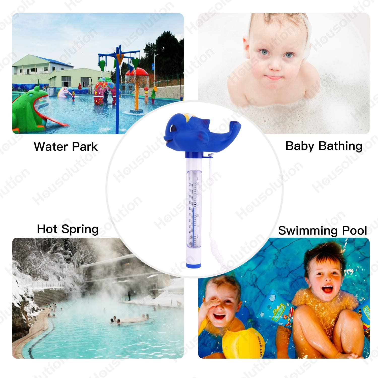Baby Pool Cartoon Water Thermometer SPA Swimming Pool Thermometer Housolution Floating Pool Thermometer Blue Whale