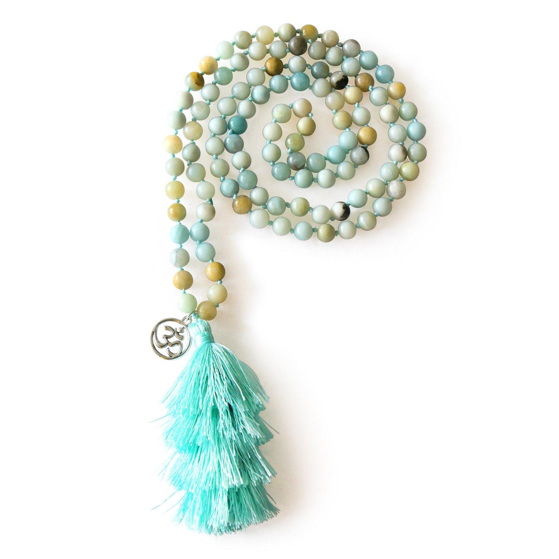 MHZ JEWELS Amazonite 108 Mala Beads Layered Tassel Necklace Bracelet Yoga Prayer Spirit Long Necklace for Women
