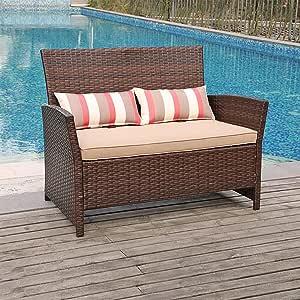 SUNSITT Outdoor Wicker Loveseat with Cushions, 2 Seats Patio PE Rattan Sofa with Lumbar Pillows, Porch, Backyard, Garden, Pool, Steel Frame
