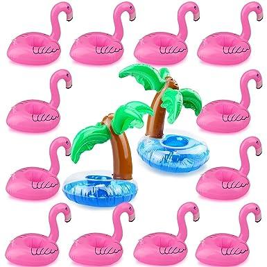 Romote Flamingo Drink détenteurs, outgeek 12 pcs Palmera y ...