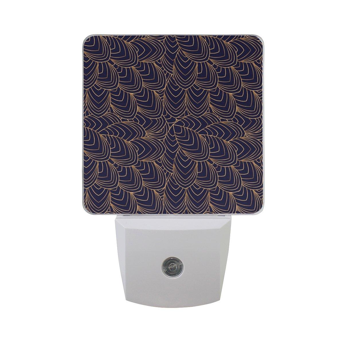 Plug-in Night Light LED Lamp Luxury Background Peacock Printing with Dusk to Dawn Sensor for Bedroom, Bathroom, Hallway, Stairways, 2 Pack-0.5W