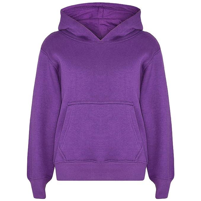 d84a5995 Amazon.com: Kids Girls Boys Sweatshirt Tops Plain Purple Hooded ...