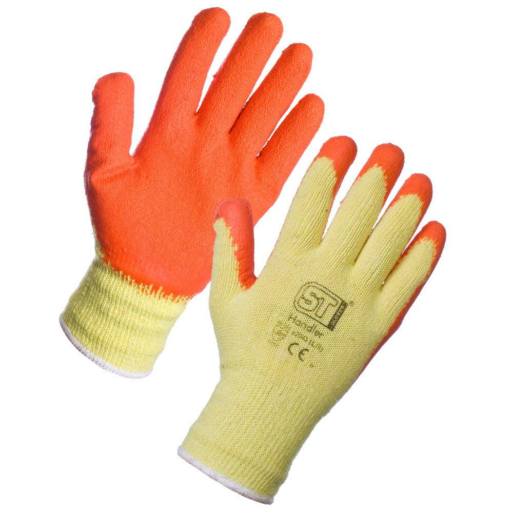 Supertouch Latex Coated Rubber Safety Gloves - 1 Pair - Orange - 7/Small Super Touch HDLPC-S
