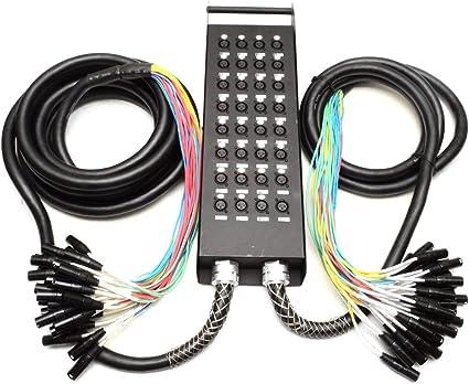 Seismic Audio – nuevo 32 canales XLR Enviar divisor Cable de serpiente con caja – de dos troncos,