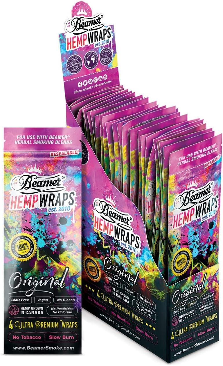 100 Wrap Display Beamer Vegan Hemp Wraps (25 Packs of 4) - 110mm - No GMOs, Chlorine, or Bleach + Beamer Smoke Sticker