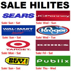 Weekly Sale Ads and Sale Hilites of Walmart, Kroger, Jcpenny, Target,  Publix, Sears, Kohls and Best Buy