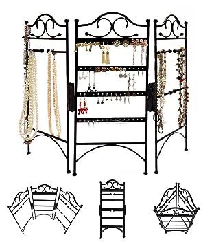 Triple panel de metal, soporte, organizador para joyas, con ...