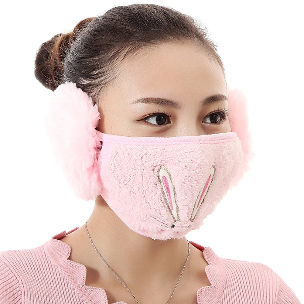 Warm Comfortable 2 in 1 Embroideried Rabbit Cartoon Earmuffs with Mask Anti-fog Windproof Earmuff Masks