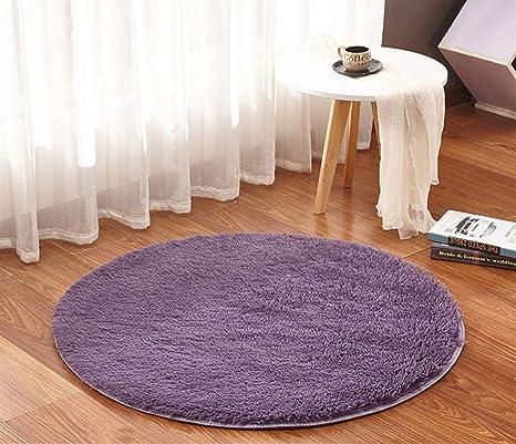 Ommda Teppiche Wohnzimmer Anti Rutsch Weich Langflor Modern Waschbar Teppich Rund Flauschig Grau Lila 120cm Amazon De Kuche Haushalt