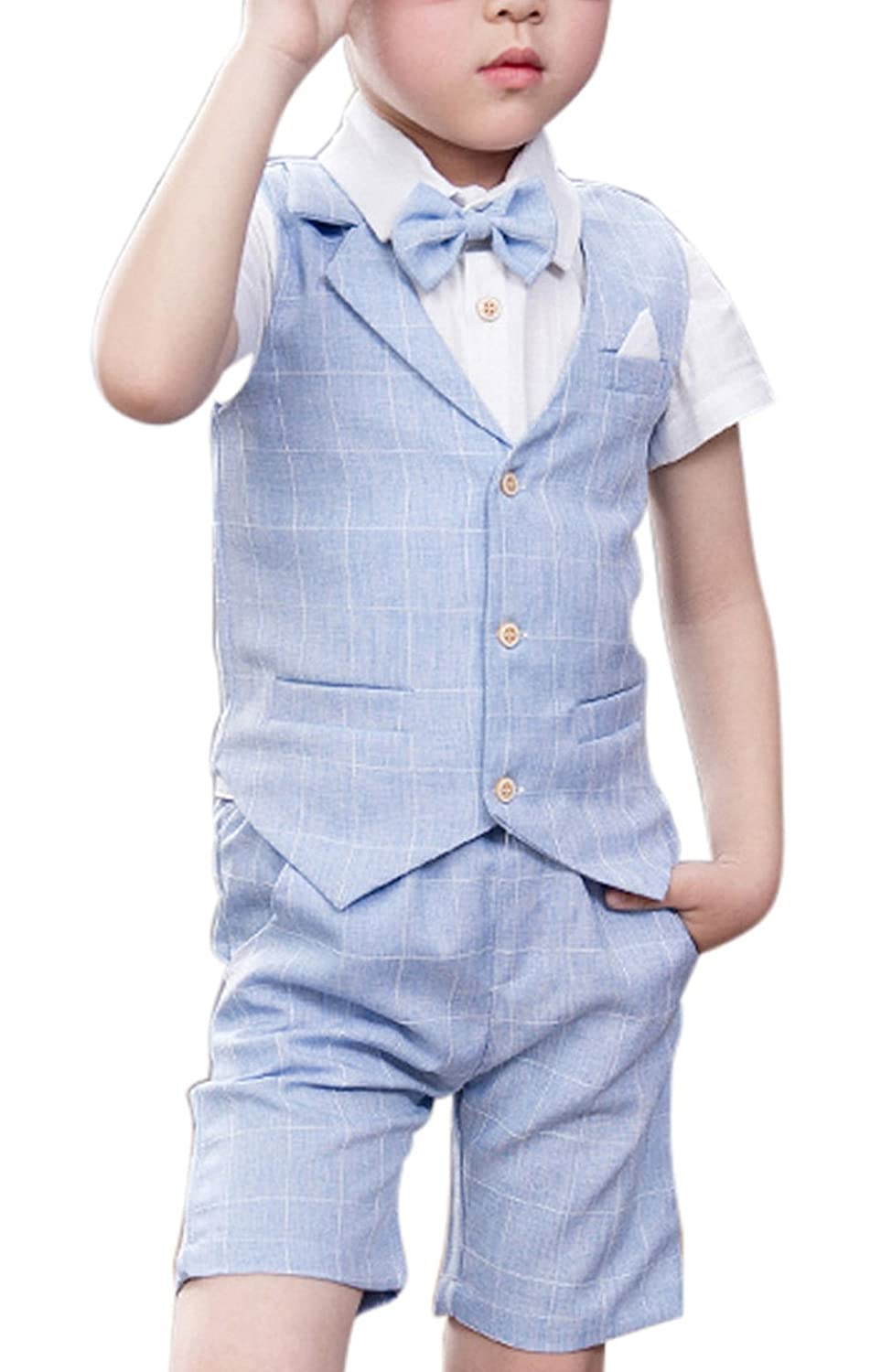 TONGBOXIAOYU Boy Formal Suit Set 4 Piece Plaid Summer Wedding Vest Shorts Set