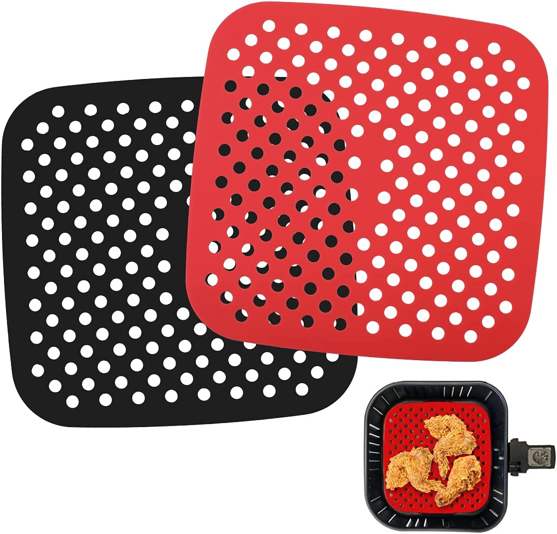 AIEVE Air Fryer Liners, 2 Pcs 8.5 Inches Square Silicone Air Fryer Accessories Air Fryer Sheets Heat Resistant Mats Compatible with Instant Vortex, Ninja, Power XL, Cosori, Nuwave, GoWise for Baking