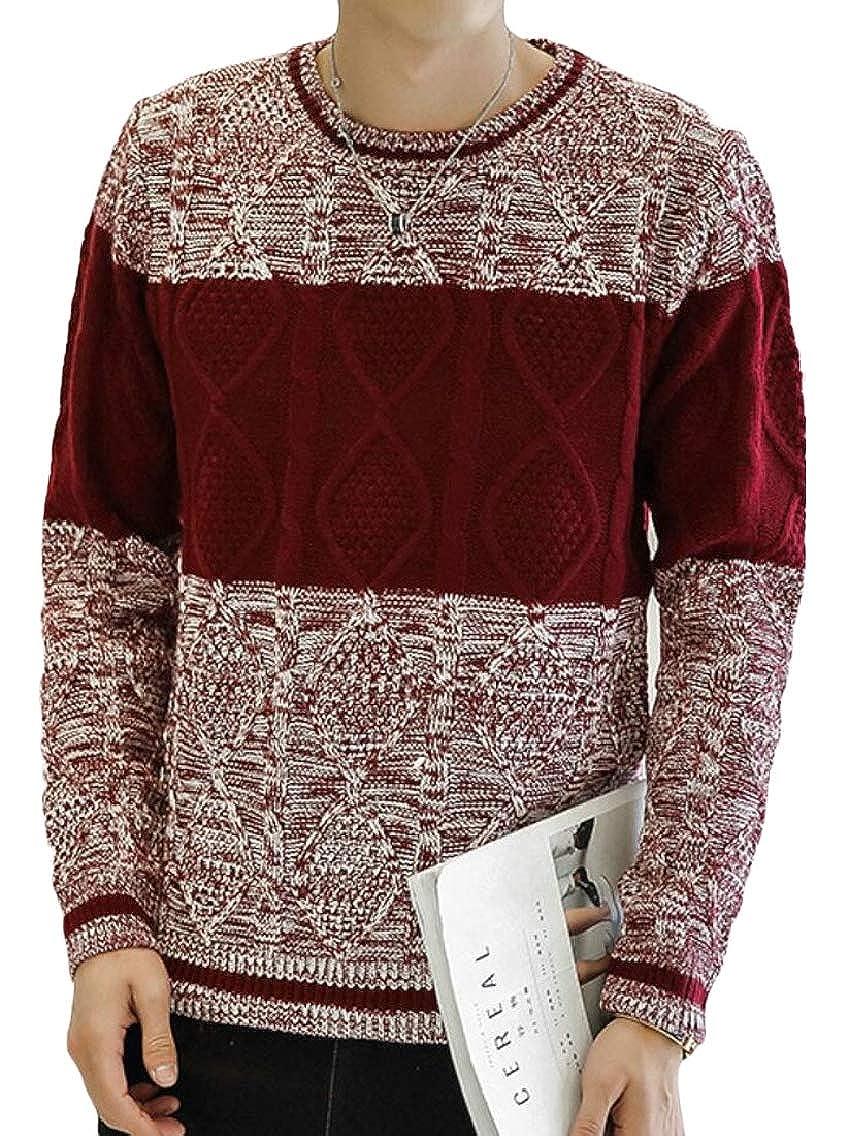 Jmwss QD Mens Stylish Knitting Crewneck Slim Fit Color Block Pullover Sweaters