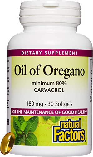 Natural Factors, Oil of Oregano 180 mg, Helps Maintain Good Health with Extra Virgin Olive Oil, 30'softgels 30 Servings
