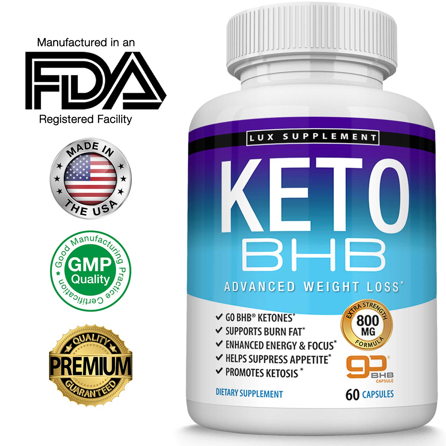 Keto Pills Advanced Weight Loss BHB Salt - Natural Ketosis Fat Burner Using Ketone & Ketogenic Diet, Boost Energy While Burning Fat, Fast & Effective Perfect for Men Women, 60 Capsules, Lux Supplement by Lux Supplement