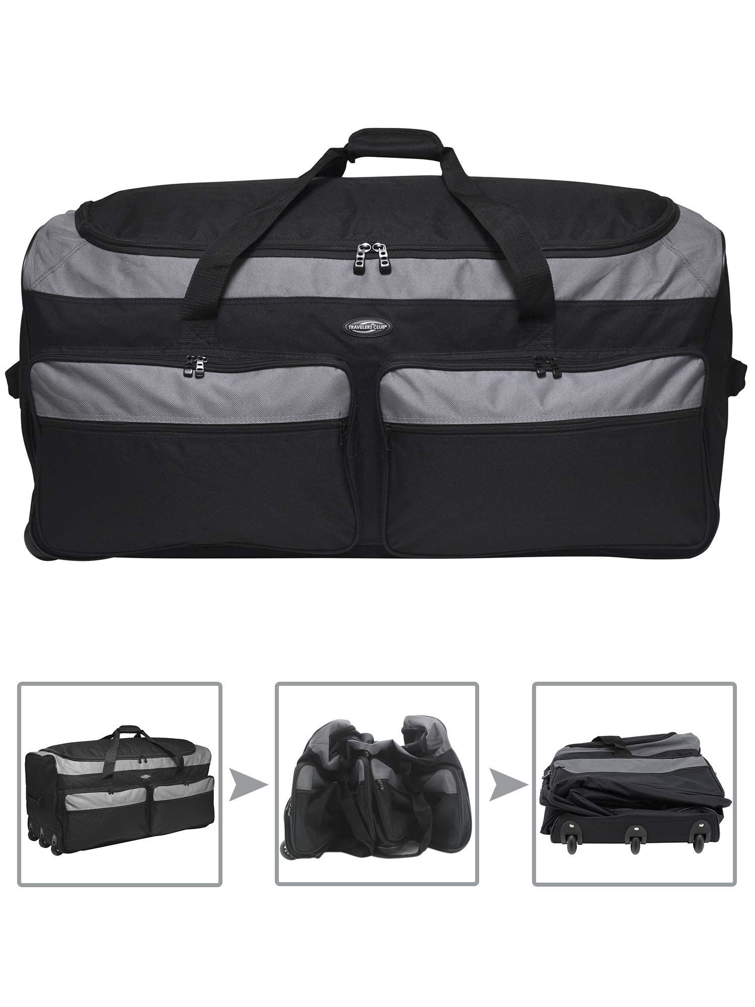 Travelers Club 36'' 3-Wheel Rolling Expandable Duffle Bag, Black Option by Travelers Club