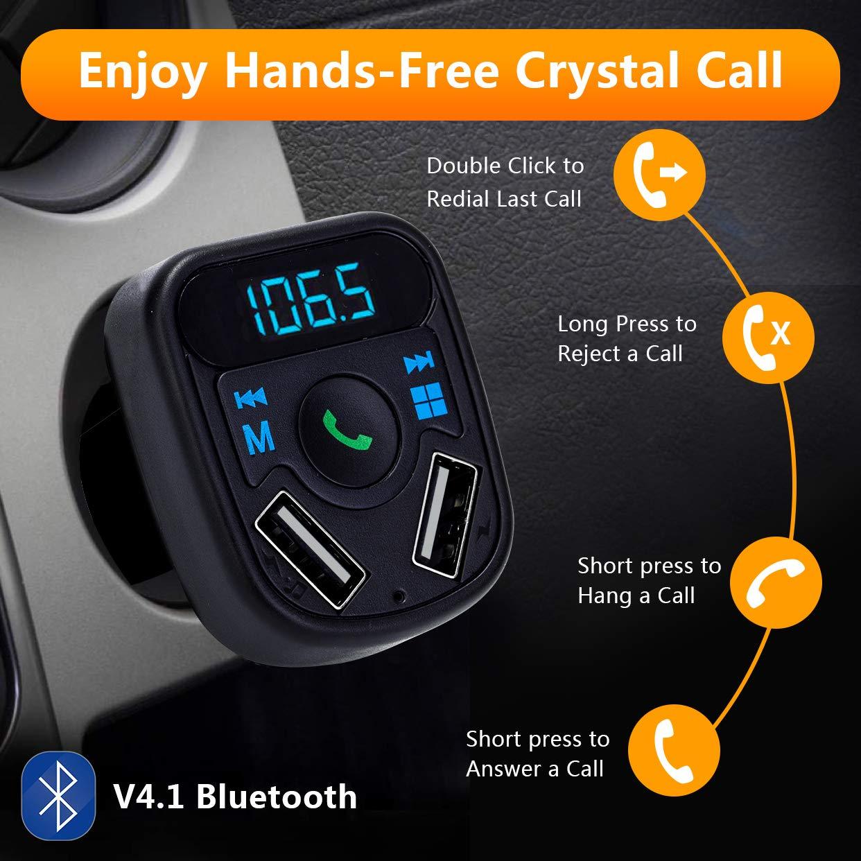 Acepta Tarjetas SD USB Transmisor de Radio Inal/ámbrico Kit Adaptador de Coche con Funci/ón Manos Libres 5V // 2.4A y 1A y Flash Drive SOOTEWAY Transmisor FM Bluetooth Puertos USB Dobles