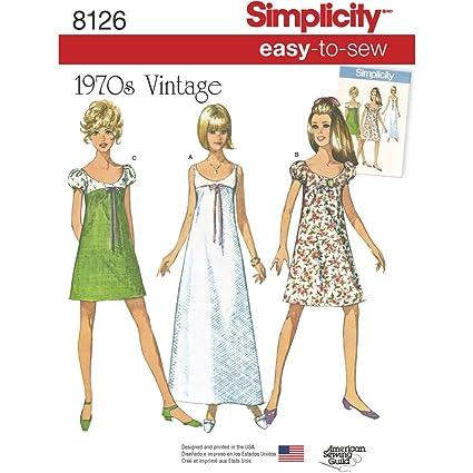 Simplicity Pattern 8126 Misses Sencillo Vintage Patrones de Costura para Vestidos, Blanco, tamaño