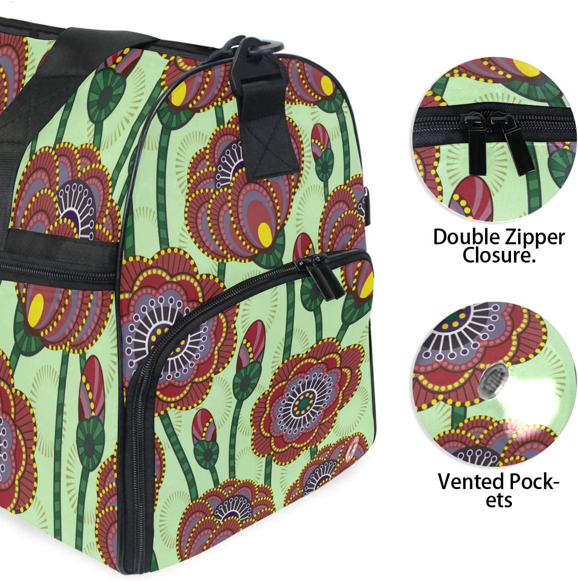 WIHVE Gym Bag Poppy Flower Floral Sports Travel Duffel Bag with Shoe Compartment