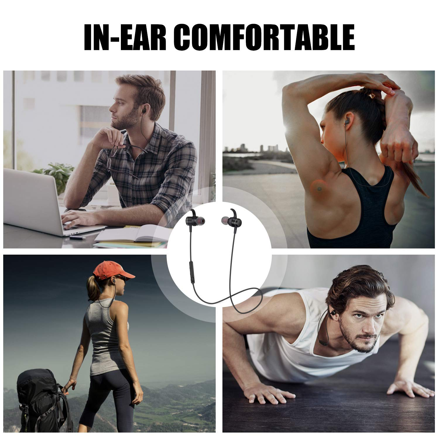 Bluetooth Headphones with Microphone Wireless Headphones in-Ear Bluetooth Earbuds Wireless Earbuds with Mic Magnetic Ear Buds Sweatproof Earphones Sports Running Gym Workout Noise Cancelling