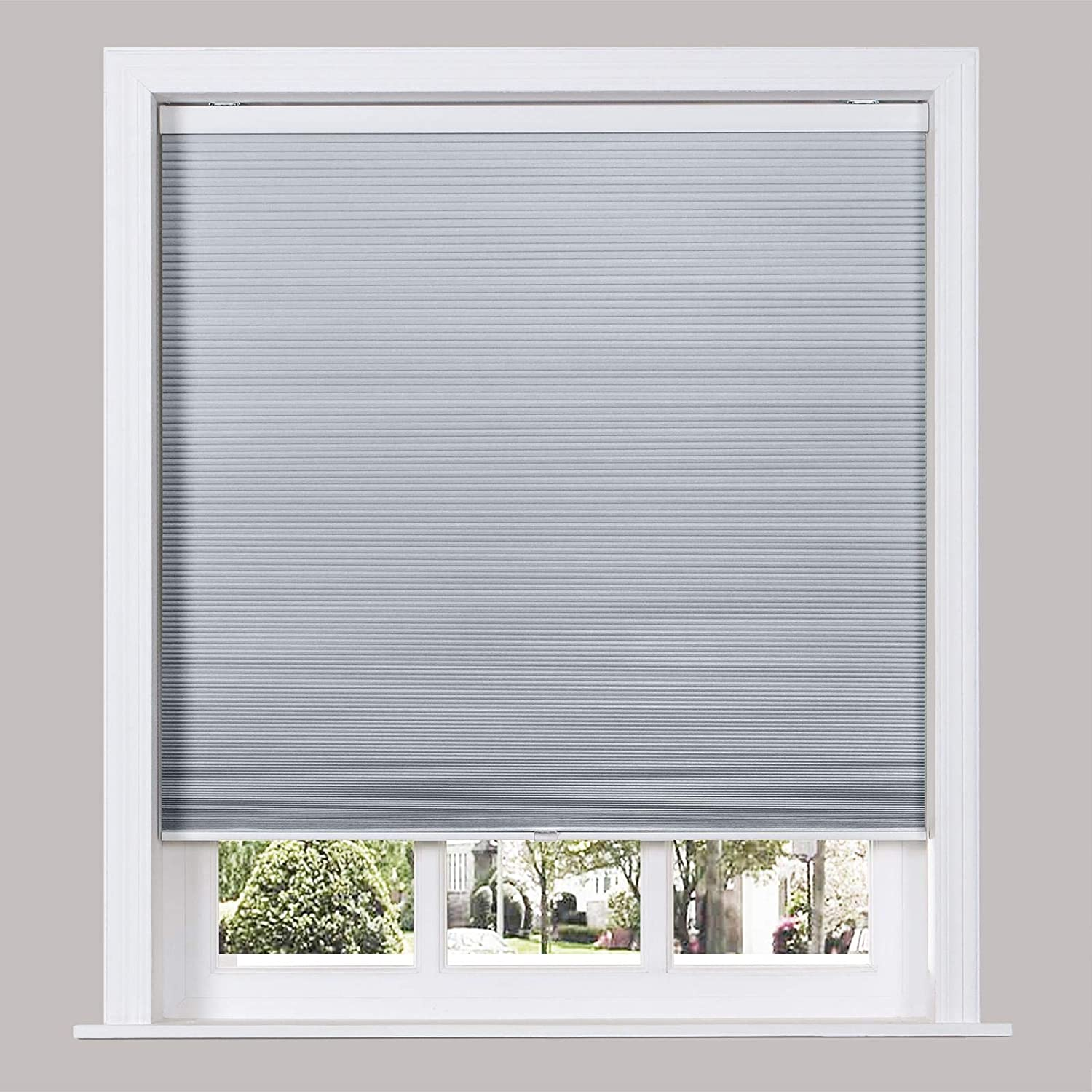 TWOPAGES Custom Made Cordless Cellular Shades for Window, Single Cell Blackout Shades for Home, Grey