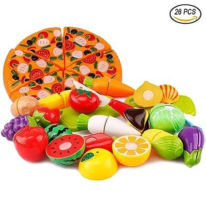 Tocone 26 Piezas Alimentos de juguete Cortar Frutas Verduras Pizza Cocina Juguete Temprano Desarrollo Educación Juguete de Corte para Bebé Niños de 3 ...