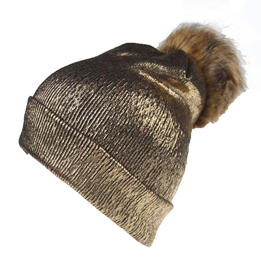 Limado Women Fur Pom Pom Ball Knit Crochet Baggy Bobble Hat Beanie Beret  Ski Cap Winter (Gold) at Amazon Women s Clothing store  4ff2162d0afb