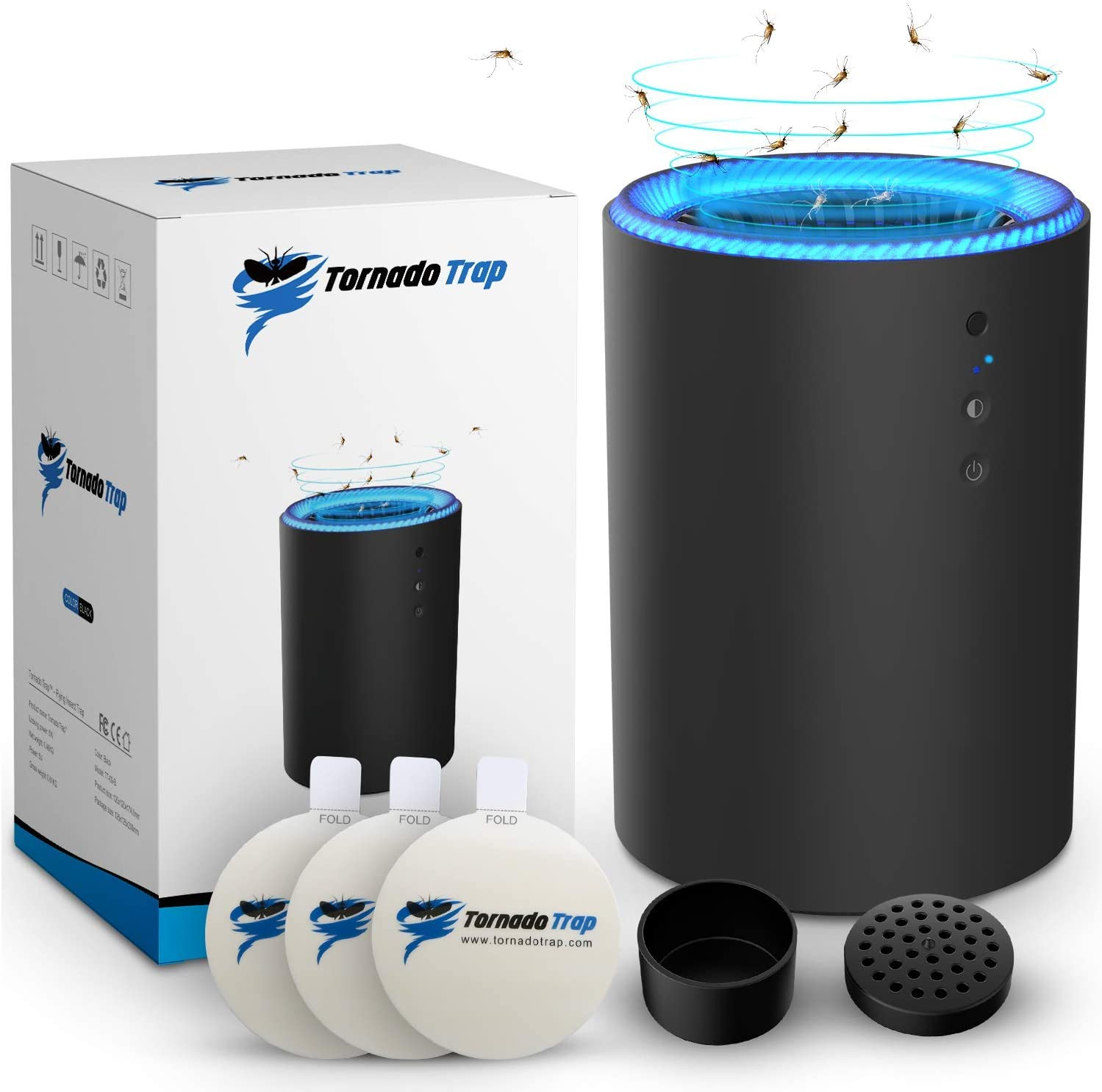 Tornado Trap Indoor Mosquito Fruit Fly Gnat Killer - Electronic Flying Insect Bug Catcher uses Light Lamp and/or Natural Bait, 5w Fan, Sticky Glue Boards, No Zapper, Child Safe, Non-Toxic (Black)